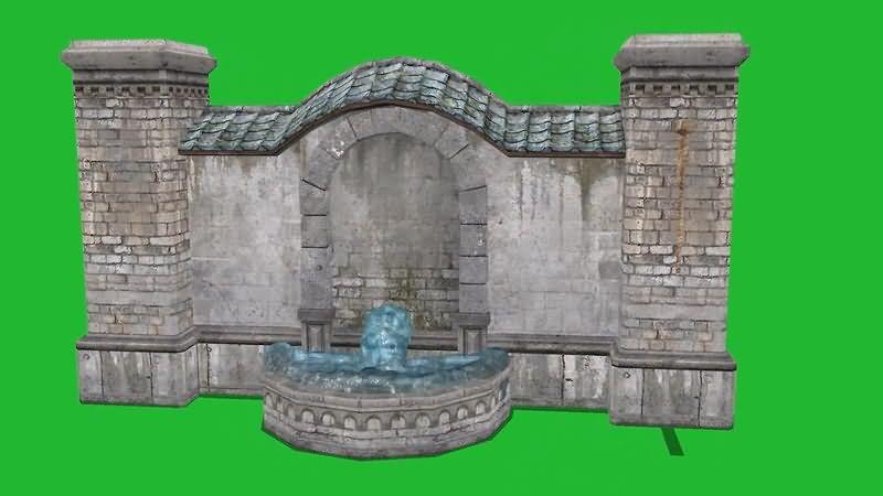 绿屏抠像流水的许愿池视频素材
