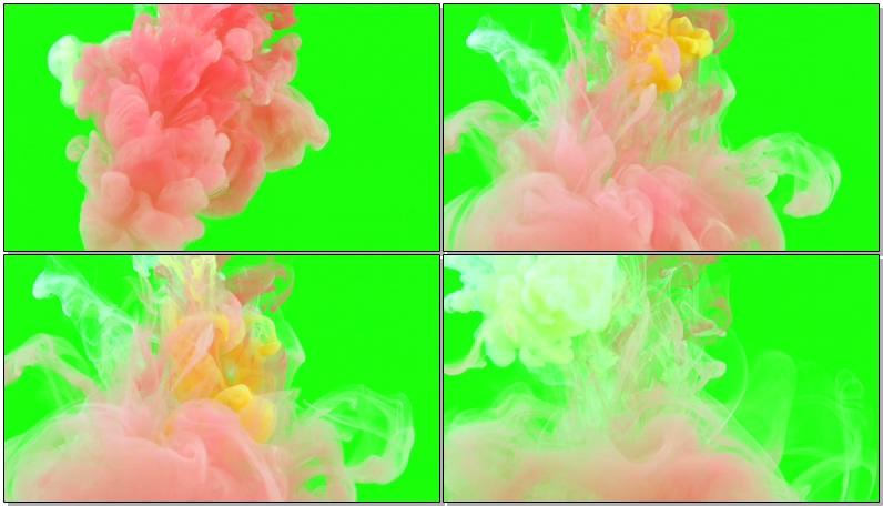 [4K]绿屏抠像彩色水墨视频素材