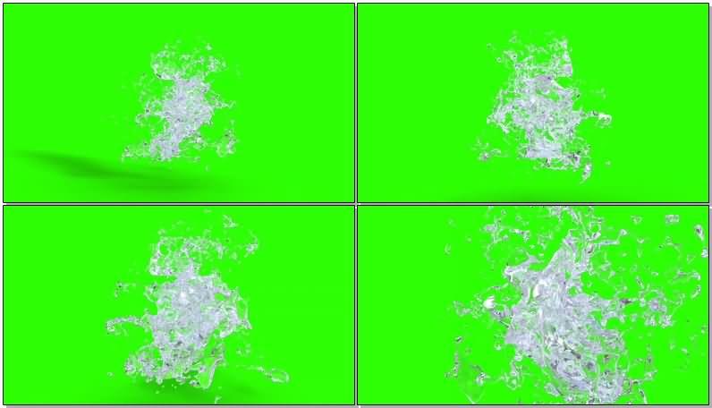 绿屏抠像凝固的3D水花视频素材