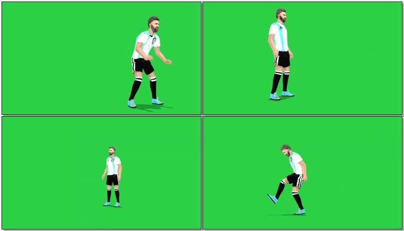 绿屏抠像足球运动员视频素材
