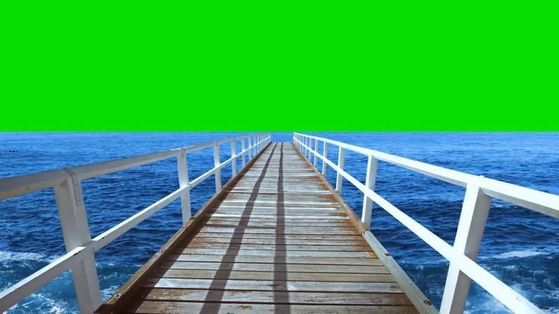 [4K]绿屏抠像海边码头大桥视频素材