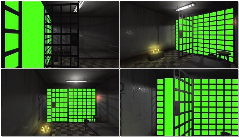 绿屏抠像监狱牢房视频素材