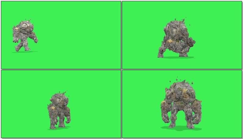 绿屏抠像石头怪物视频素材