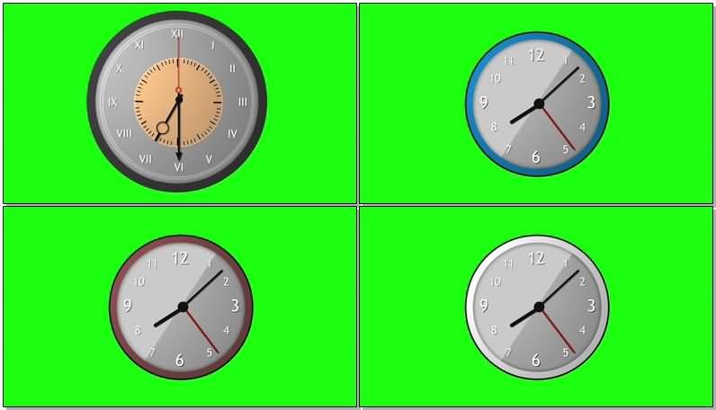 绿屏抠像转动的钟表视频素材
