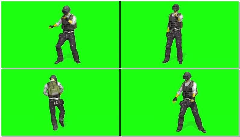 绿屏抠像吃鸡游戏人物视频素材