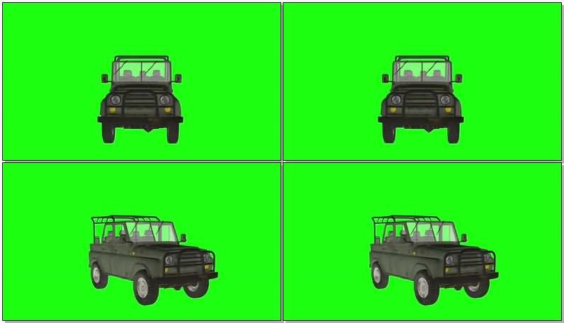 绿屏抠像越野吉普车视频素材
