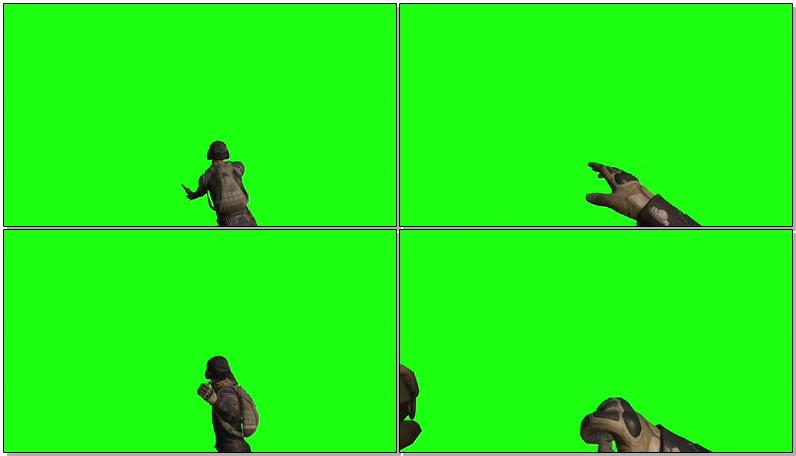 绿屏抠像吃鸡游戏扔燃烧弹手雷视频素材