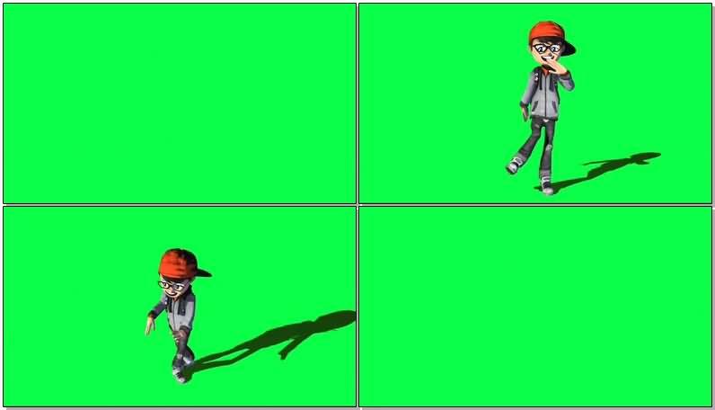 绿屏抠像跳街舞的男孩视频素材