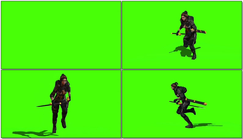 绿屏抠像奔跑的女武士视频素材