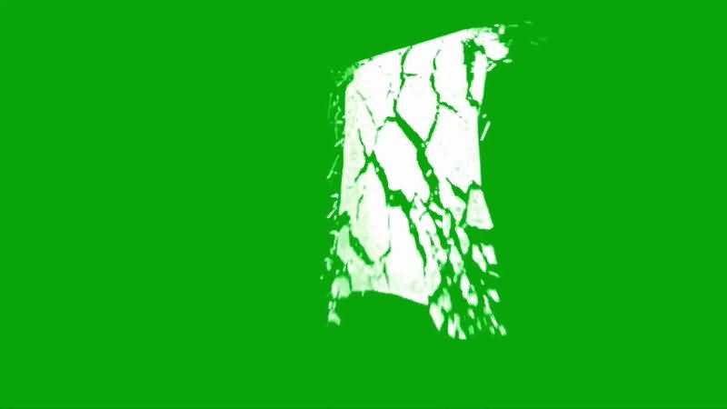 绿屏抠像破碎的玻璃视频素材