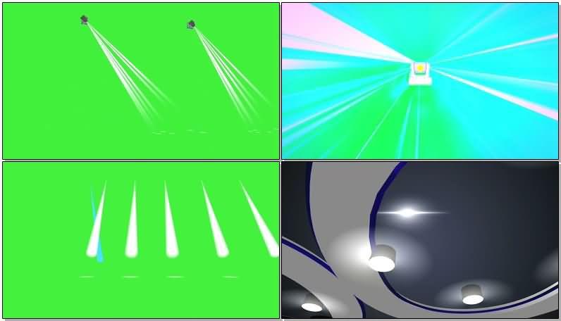 绿屏抠像舞厅各种射灯视频素材