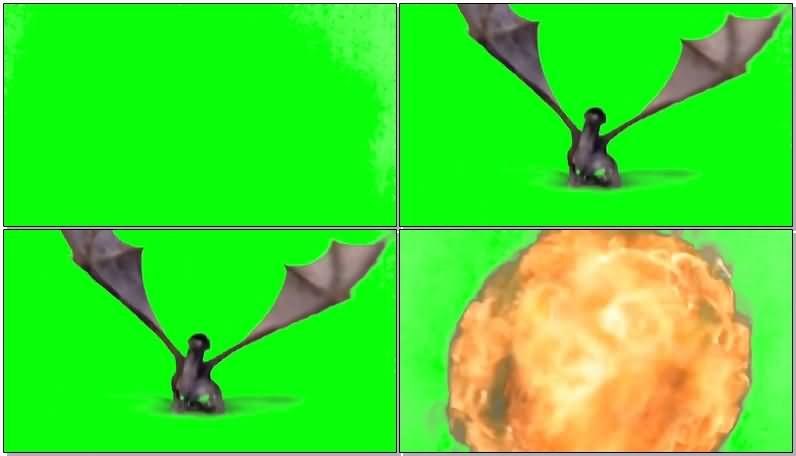 绿面抠像喷火的飞龙视频素材