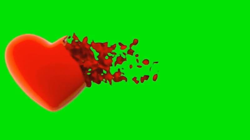 绿面抠像消散的爱心视频素材