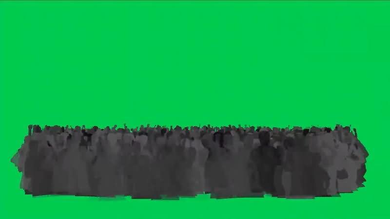 绿屏抠像欢呼的人群影子视频素材