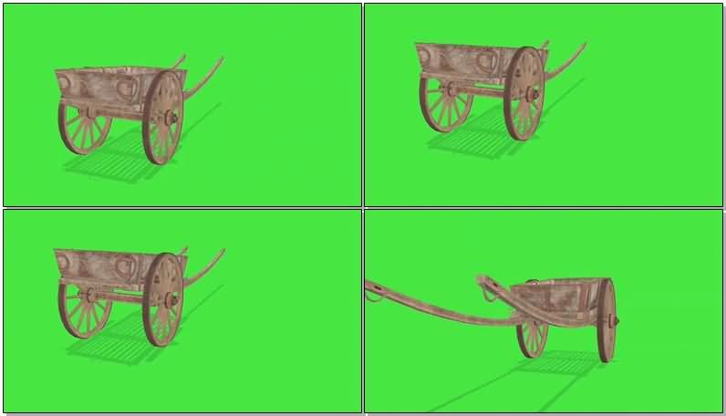 绿屏抠像建筑工地人力小斗车视频素材
