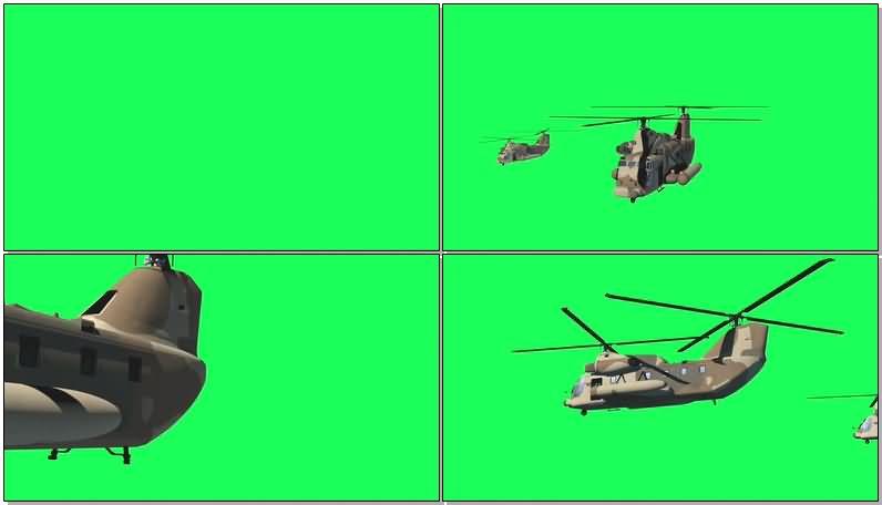 绿屏抠像军用运输直升机视频素材