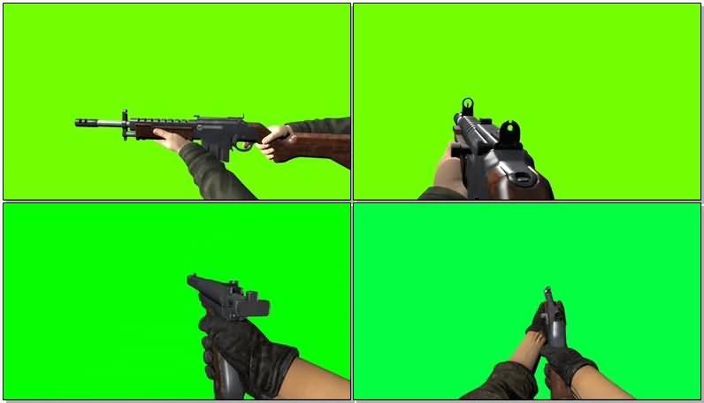 绿屏抠像第一视角吃鸡开枪射击视频素材