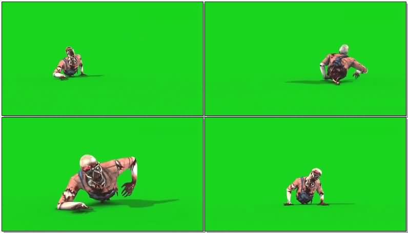 绿屏抠像半身僵尸视频素材