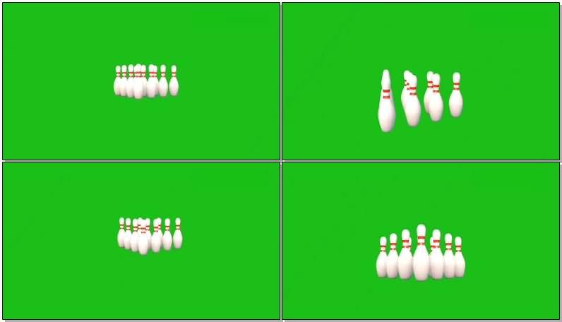 绿屏抠像保龄球视频素材