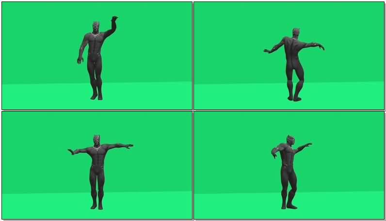 绿屏抠像跳舞的黑豹视频素材
