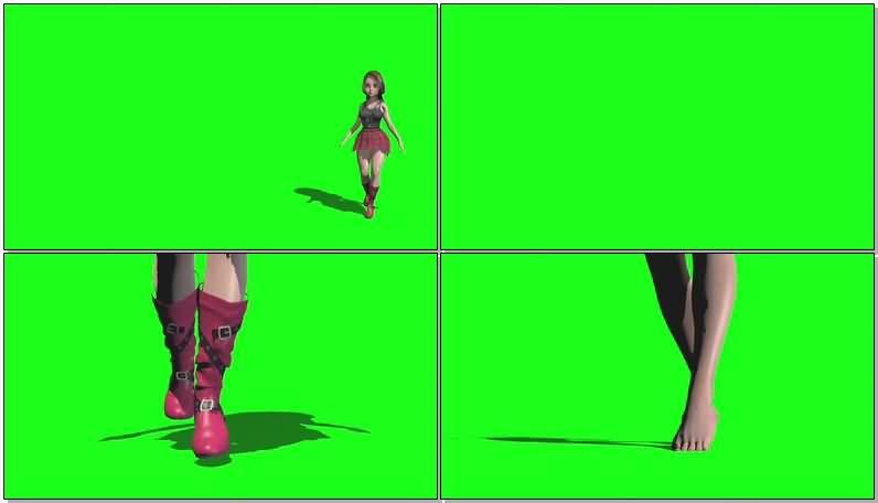 绿屏抠像走路的女孩视频素材