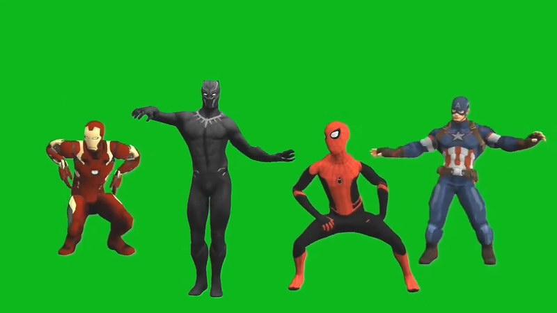 绿屏抠像复联英雄跳舞视频素材