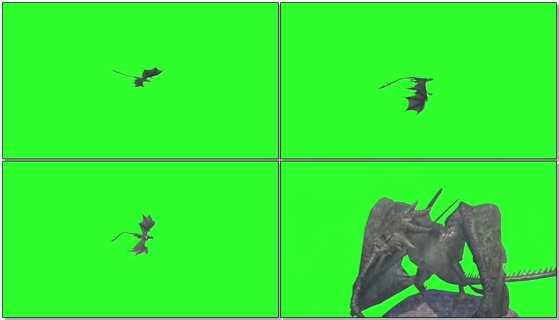 绿屏抠像空中飞龙视频素材