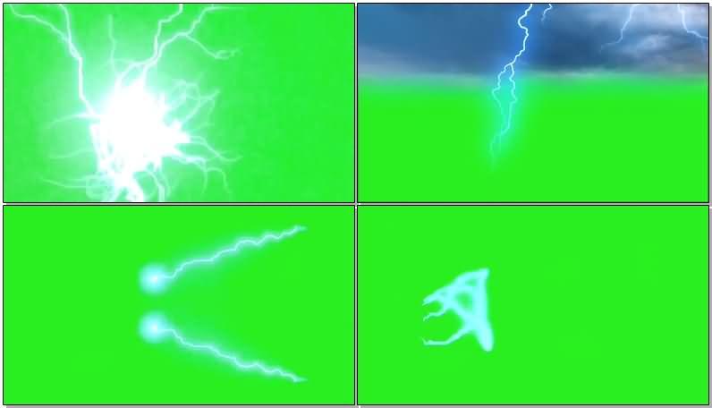 绿屏抠像闪电雷电视频素材