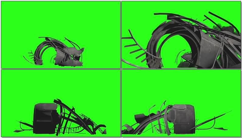 绿屏抠像宇宙飞船残骸视频素材