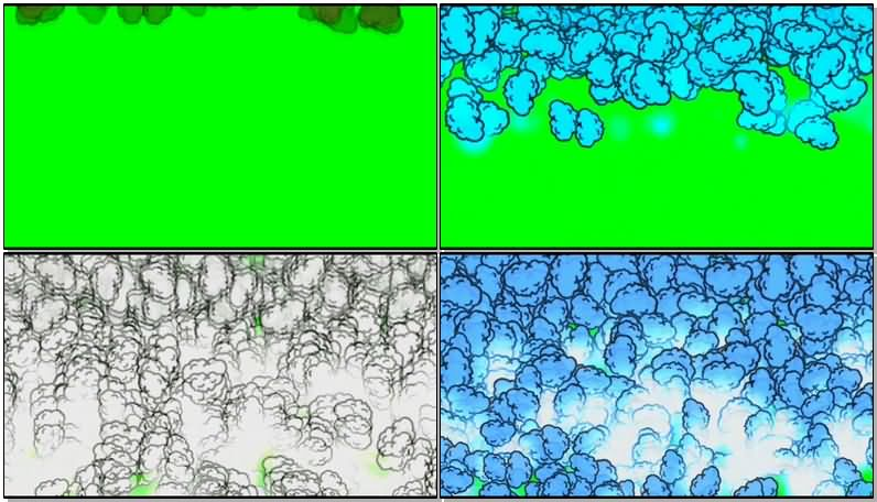 绿屏抠像彩色卡通烟雾视频素材