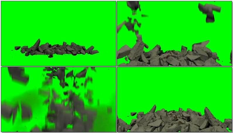 绿屏抠像倒塌的碎砖墙体视频素材