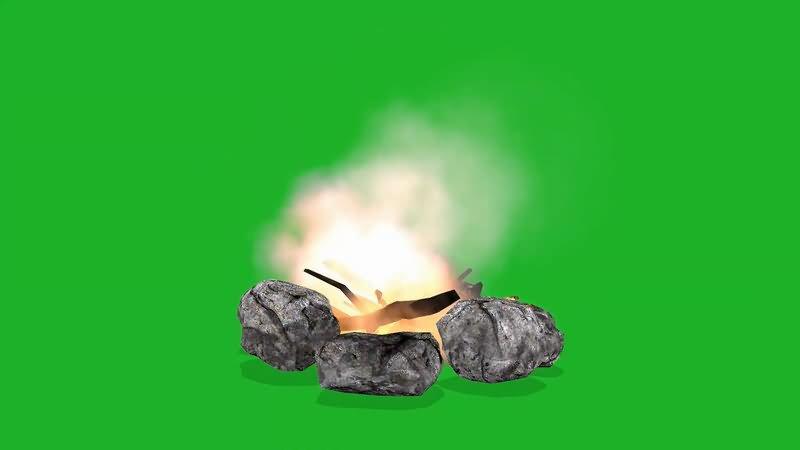 绿屏抠像篝火堆视频素材
