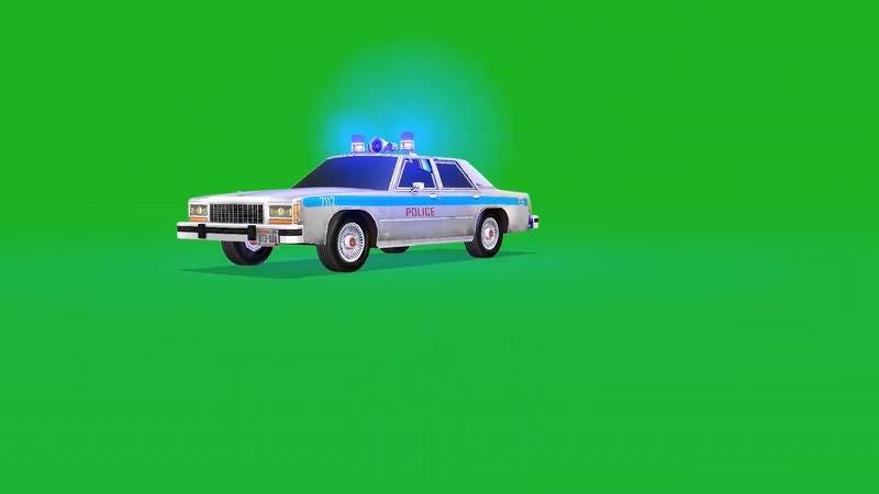 绿屏抠像行驶的警车视频素材