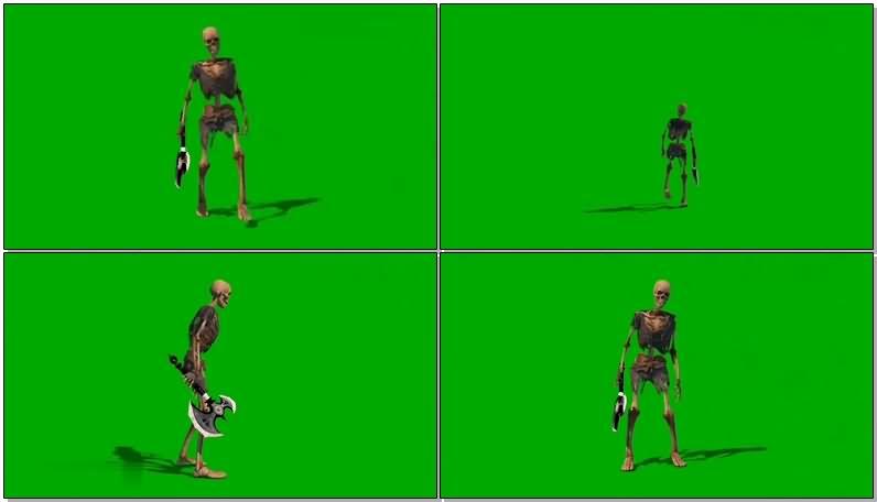 绿屏抠像拿斧子的骷髅视频素材