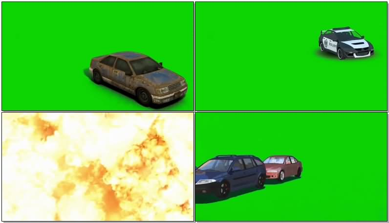 绿屏抠像爆炸的汽车视频素材