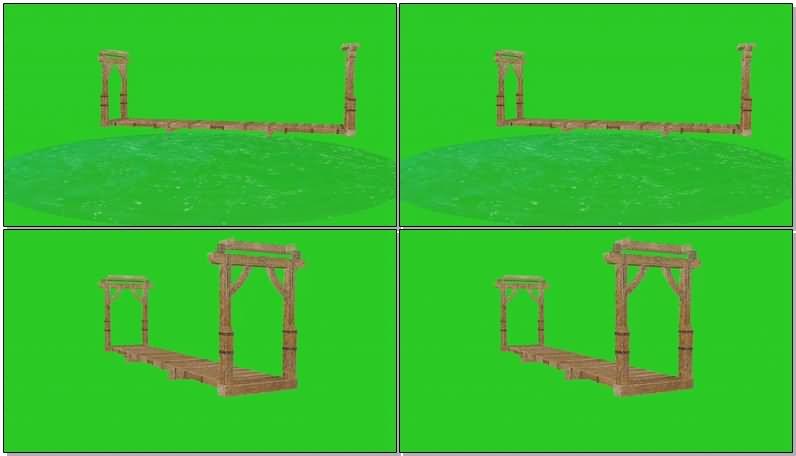 绿屏抠像坍塌的木桥视频素材