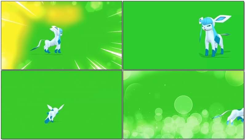 绿屏抠像口袋妖怪冰伊布视频素材