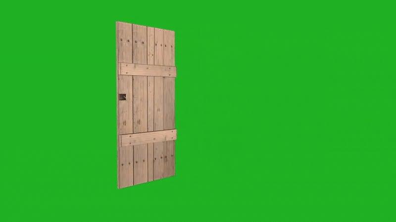 绿屏抠像打开的木门视频素材