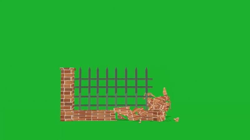 绿屏抠像倒塌的围墙视频素材