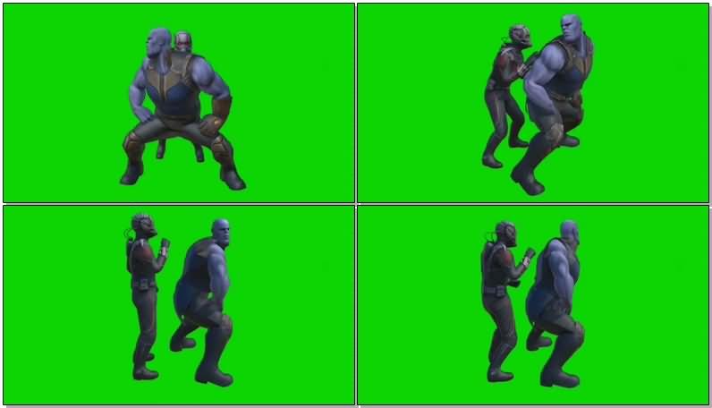 绿屏抠像跳舞的灭霸和蚁人视频素材