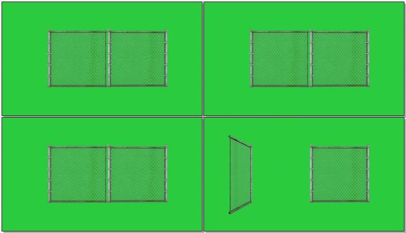 绿屏抠像铁丝网大门视频素材