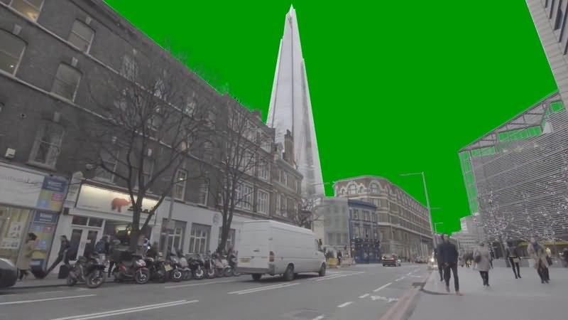 绿屏抠像城市街道走路人群视频素材