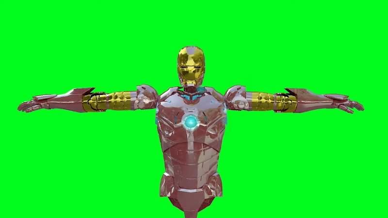 绿屏抠像钢铁侠战甲组装视频素材