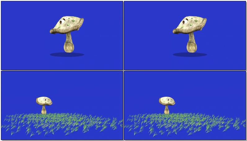 绿屏抠像卡通蘑菇视频素材