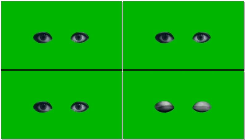 绿屏抠像黑色的眼睛视频素材