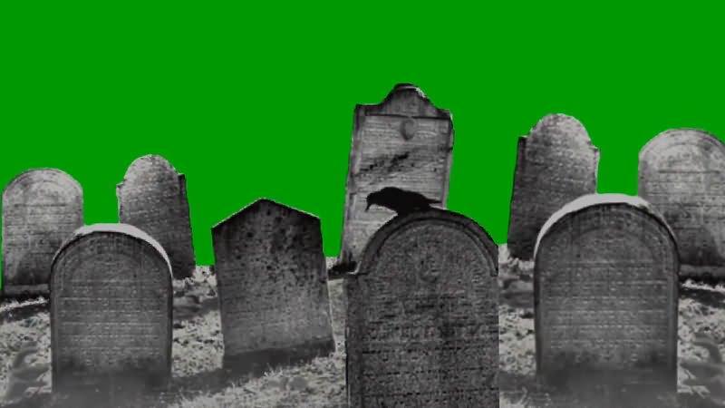 绿屏抠像墓地视频素材