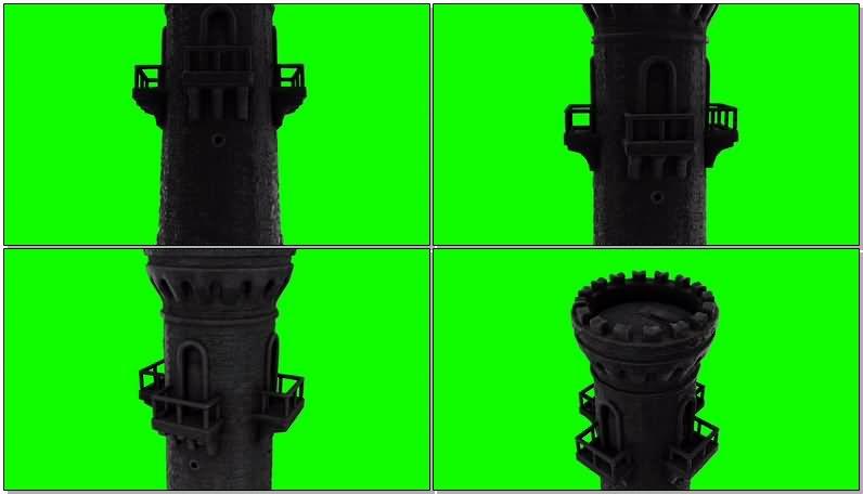 绿屏抠像警戒塔楼视频素材