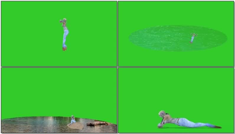 绿屏抠像美人鱼视频素材