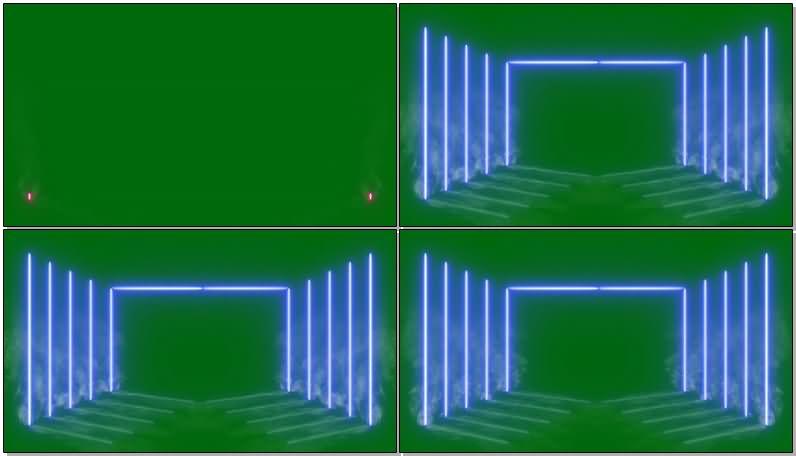 绿屏幕抠像舞台霓虹灯烟雾视频素材