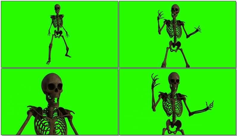 绿屏幕抠像骷髅骨架视频素材